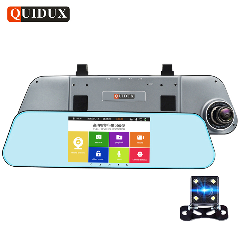 QUIDUX Dual Lens Full HD 1080P Car Rearview Mirror DVR ADAS Night Vision 5 Touch vehicle Video Camera Recorder Parking Dashcam bigbigroad for vw tiguan routan car dvr blue screen dual lens rearview mirror video recorder 5 inch car black box night vision