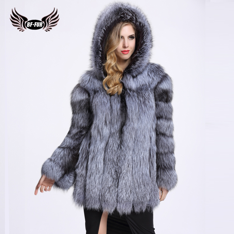 BFFUR Real Fur Fox Coat For Women With Fur Hood Natural Fur Jacket Classic Silver Fox Overcoat Capped Woman Winter 2018 Warm