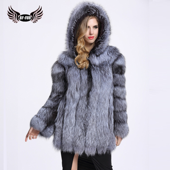 BFFUR Real Fur Fox Coat For Women With Fur Hood Natural Fur Jacket Classic Silver Fox Overcoat Capped Woman Winter 2018 Warm topfur luxury real fur coat for women thick warm winter fur jacket full pelt natural fur coat silver fox real fur coat with hood