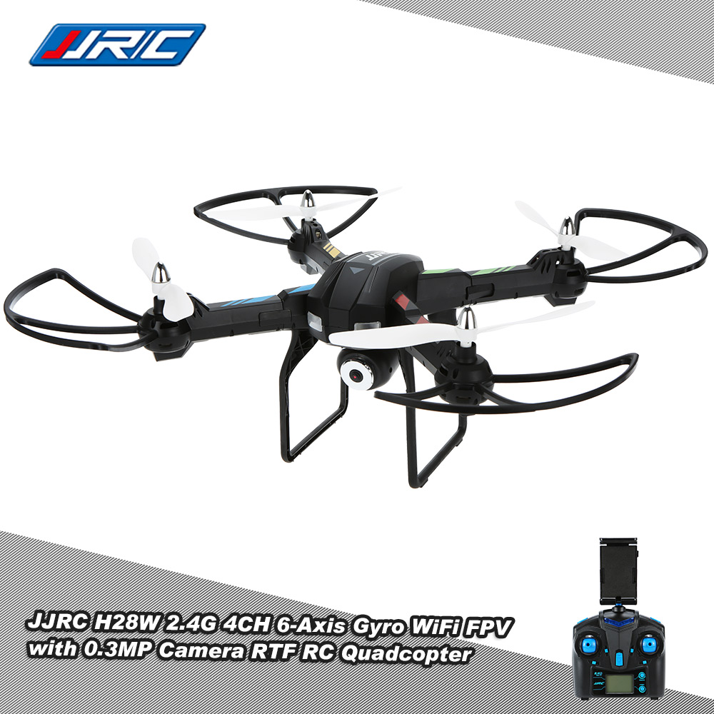 JJRC H28W RC Simulators WiFi FPV Real-time Transmission 0.3MP CAM 2.4G 4 Channel 6 Axis Gyro Quadcopter RTF Drones jjrc h29g rc drones 2 4ghz 4 channel 6 axis gyro rc quadcopter 5 8g real time transmission 2 0mp cam rc quadcopter