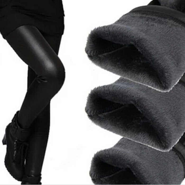 Free shipping Hot pop Fleece Lined Thick Matt Faux leather Sexy Leggings Fur winter Pants