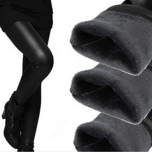 f4b12f0a6e6 Free shipping Hot pop Fleece Lined Thick Matt Faux leather Sexy Leggings  Fur winter Pants