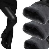Free Shipping Hot Pop Fleece Lined Thick Matt Faux Leather Sexy Leggings Fur Winter Pants
