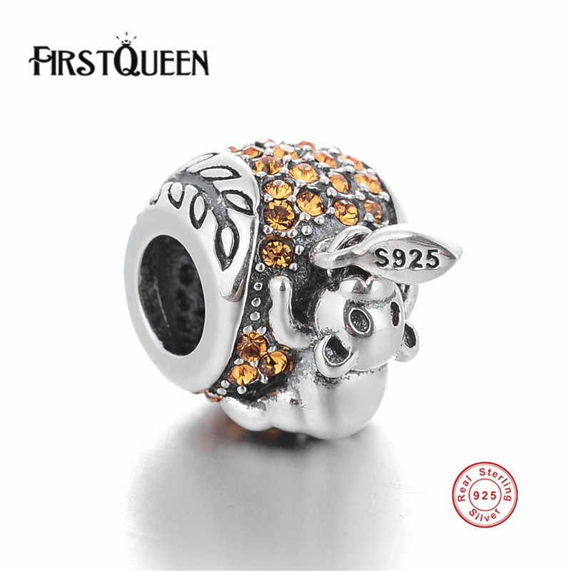 FirstQueen Лидер продаж Высокое качество Серебряный Медведь шарики для украшений с украшением в виде кристаллов, подходят к оригинальному браслету, кулоны из нержавеющей стали для Для женщин, сделай сам, ювелирное изделие
