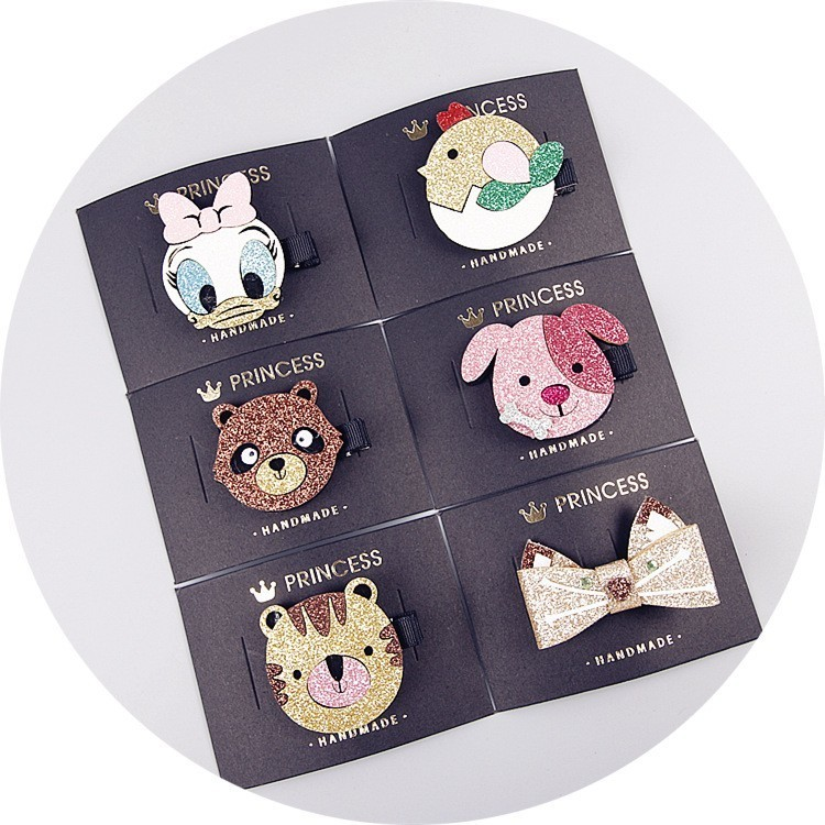 1 PCS New Cartoon Cute Handmade Sequin Cat Girls Hairpins Children Hair Accessories Princess   Headwear   Kids Hair Clips