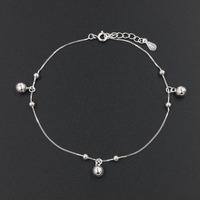 Hot Little Bell Anklet Bracelet Pure 925 Sterling Silver Women Girl Lover Barefoot Fashion Foot Chain Jewelry