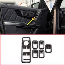 5 шт. углеродного волокна ABS окна лифт кнопка включения рамы Обрезать для Mercedes Benz GLS класса X166 автомобильные аксессуары