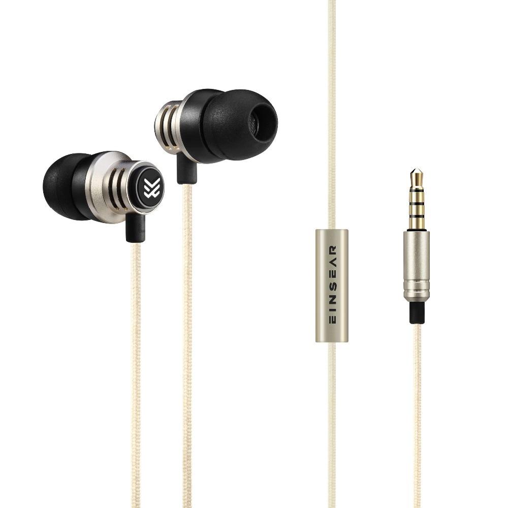 Original EINSEAR T2 In Ear Earphone Dynamic 3 5mm Stereo Headset Earbuds Aerospace Aluminum Alloy Earphones