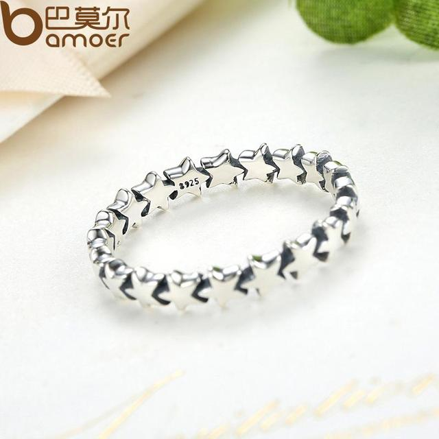 BAMOER HOT SALE Silver 925 Stackable Finger Ring For Women Wedding 100% 925 Sterling Silver Jewelry 2019 HOT SELL PA7151 1