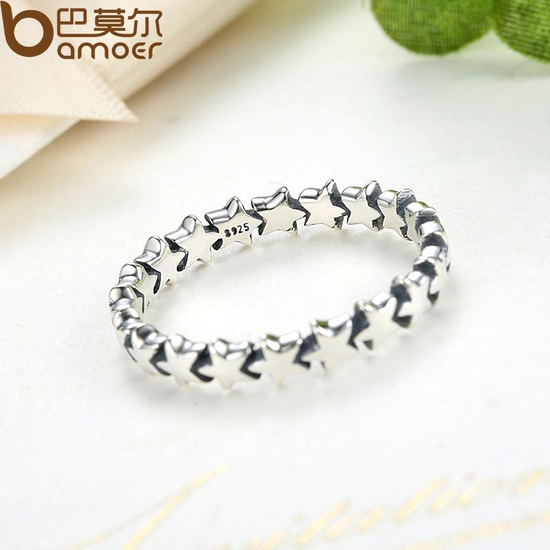 BAMOER Star Trail Stackable Finger Ring naistele pulm 100% 925 hõbe - Mood ehteid - Foto 3