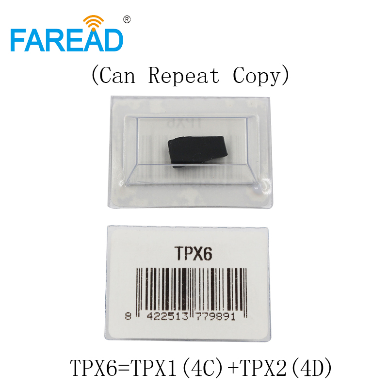 Free shipping TPX6 Transponder Car Key Chip = TPX1 ( 4C ) + TPX2 ( 4D ) Ceramic Carbon  ( Can Repeat Copy ) Blank Chip