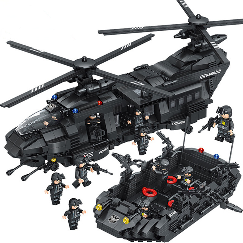цены 1351pcs Diy Military Army War Special Police Force CH-47 Chinook Helicopter Compatible With Legoingly Bricks Toys For Children
