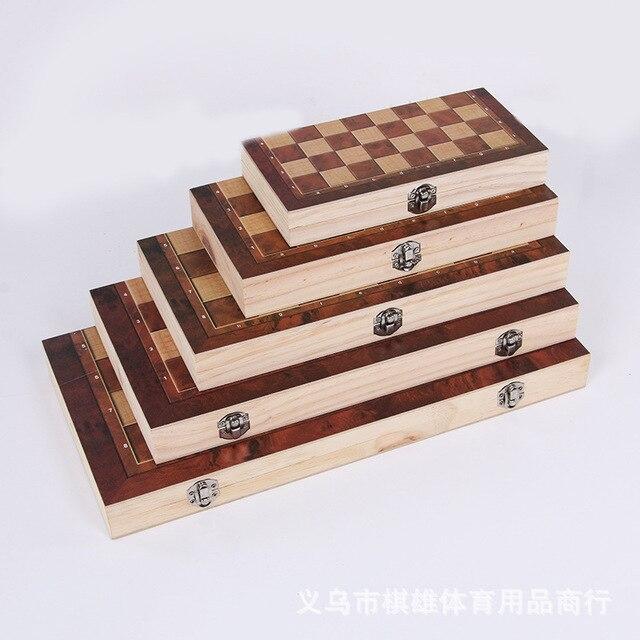 3-en-1 fonction haute qualité en bois échecs , dames backgammon ensemble jeu de société pliable et portable 1