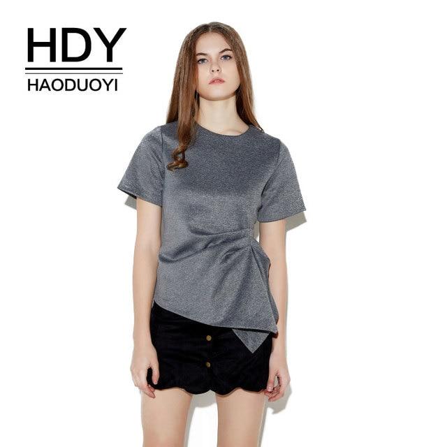 HDY Haoduoyi Womens Summer Short Sleeve O-Neck Solid Casual Femme T-shirt Slim Irregular Pleated Feminina Tops Tees wholesale