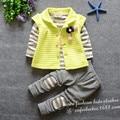 Костюм детей 2016 весной новая версия свободного покроя прекрасный вишневый кулон из трех частей ( футболка + жилет + брюки ) костюм одежда для новорожденных