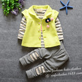 Children suit 2016 spring new version of casual lovely cherry pendant three-piece(t-shirt+vest+pants)suit baby clothing sets