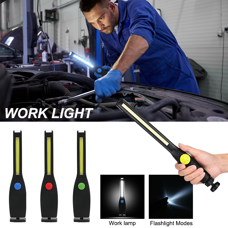 Universal Spotlight Working Light Torch Portable COB LED Inspection Rechargeable Magnetic Lamp Camping Car Repairing Flashlight