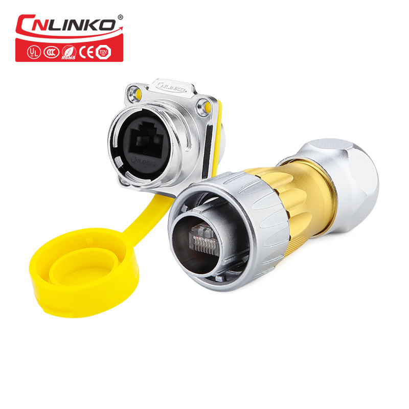 CNLINKO DH M24 metal waterproof ip67 rj45 connector male and female connector rj45 panel mount socket plug with 3m cable