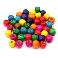 30pcs/lot Mixed Color Cylindrical Wood Beads Loose Spacer For Jewelry Finding DIY Handmade Bracelet Necklace Earring Accessories