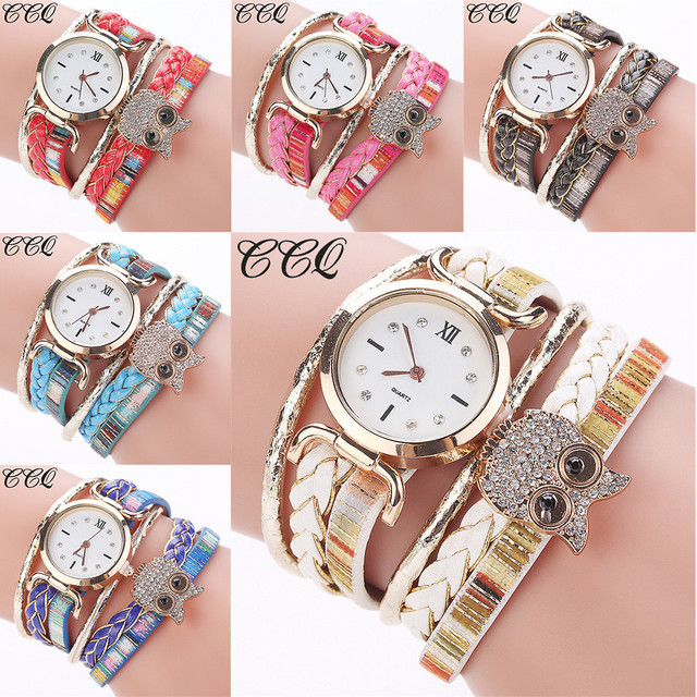 CCQ Women Fashion lovely cute Casual Analog Quartz Women Rhinestone Owl Bracelet