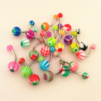 Wholesale 60PCS PACK Navel Ring Acrylic Belly Button Ring Performance Banana Barbell For Women Show Body