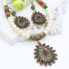 New Vintage Turkish Women Water Drop Jewelry Sets Imitation Pearl Pendant Necklace Hollow Flower Earring Antique Athena Bijoux