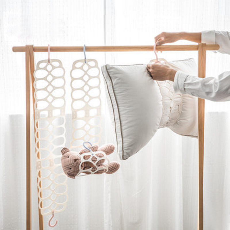Creative pillow rack double hook Multi-use Drying Doll rack adjustable balcony clothes holder Foldable