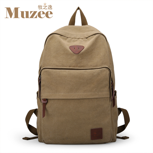 Muzee Hot Sale 2016 New Fashion Arcuate Leisure Men's Backpack Zipper Solid Canvas Backpack School Bag Travel Bag ME_0528