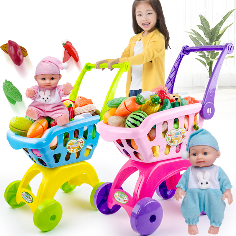 Classic Toys For Children Pretend Play Set Shopping Cart Trolley Boy Girl Cutting Fruit Cake Doll Toy Roll Play Baby Storage Bag
