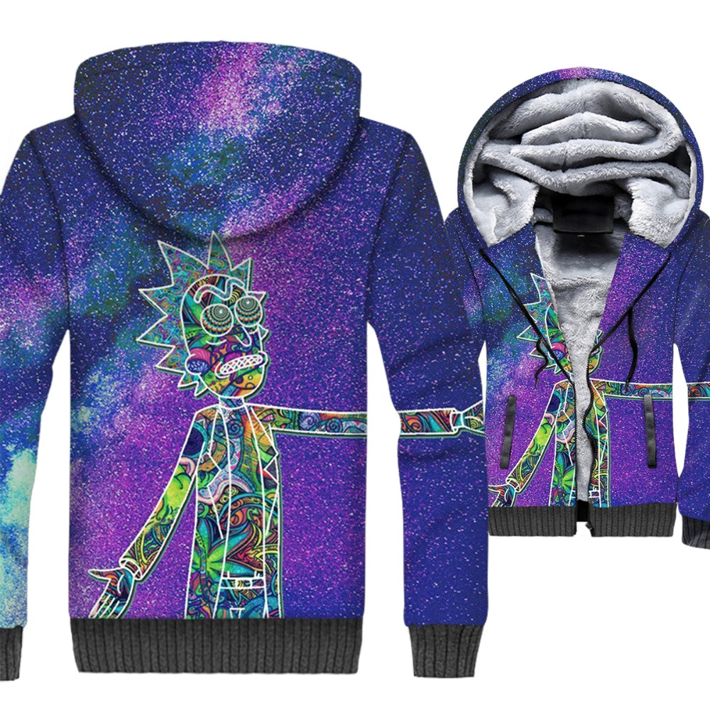 Rick and Morty 3D Print Hoodie Men Funny Hooded Sweatshirt Winter Thick Fleece Zip up Coat Plus Size 5XL Jacket Anime Streetwear in Jackets from Men 39 s Clothing
