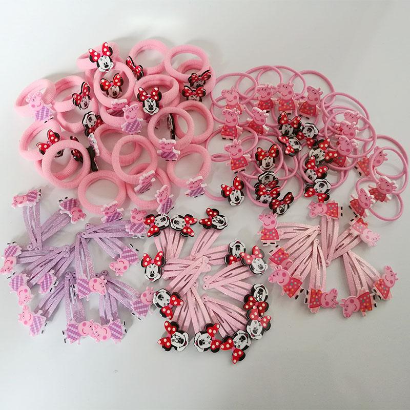 20PC/Set Pink Pig Basic Rubber Band Children Cartoon Set hairpin Kids Elastic Hair Band Girls Hair Clip Pin Hair Accessories halloween party zombie skull skeleton hand bone claw hairpin punk hair clip for women girl hair accessories headwear 1 pcs
