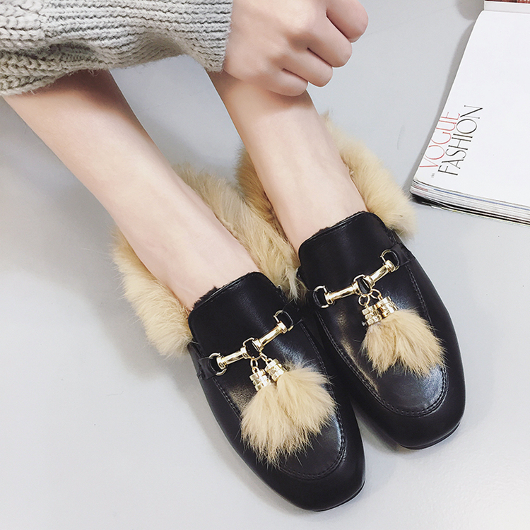 2016 autumn and winter peas shoes women add cashmere Korean tassel warm rabbit fur cotton lazy