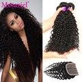 Cabelos encaracolados mongol com fecho de 4 feixes de cabelo humano com lace closure não transformados mongolian kinky curly cabelo com encerramento