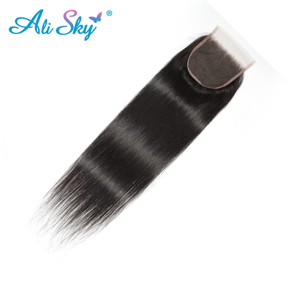 Ali Sky 5x5 Straight Lace Closure Free/Middle/Three Part Human Hair Natural Color Brazilian Remy Hair Closure Bleached Knots