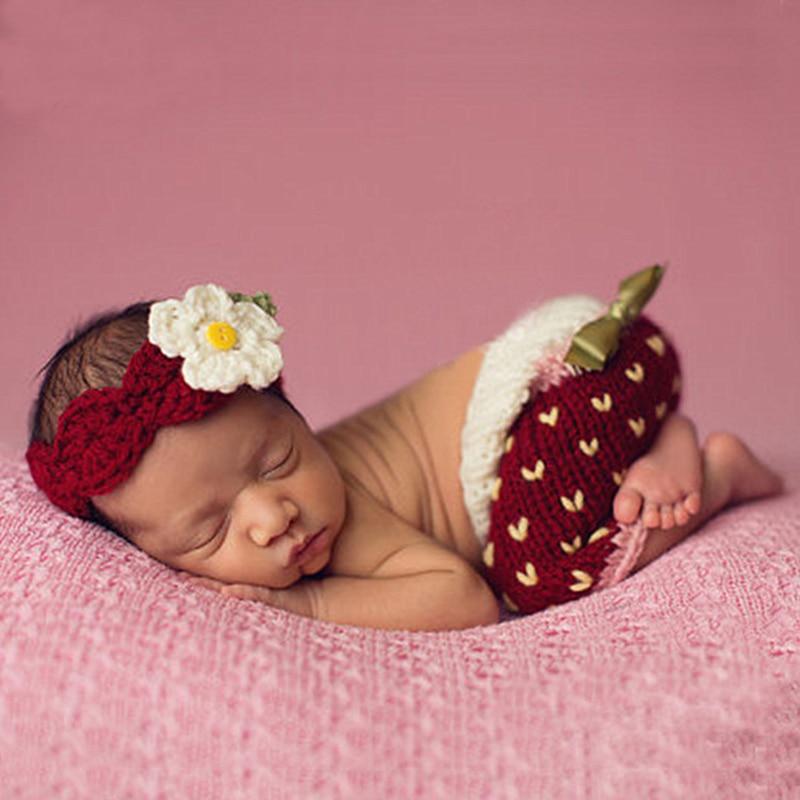 Häkeln Blume Stirnband + Hosen Set Für Neugeborene Mädchen Geschenk Fotografie Requisiten Infant Foto Schießen Outfits Tiny Baby Fotografie Requisiten