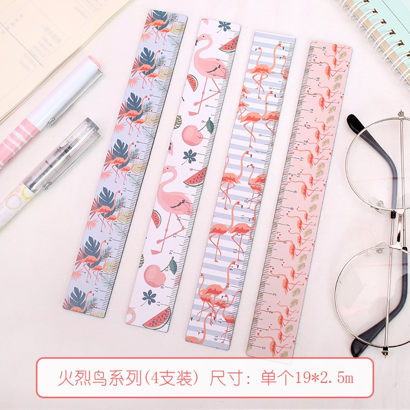 18cm Kawaii Magnetic Flamingo Straight Ruler Cute Pink Panther Drawing Rulers For School Kids Painting Gift Korean Stationery