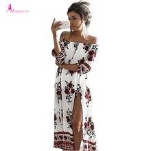 2017 mujeres del verano de impresión de la raya vertical cuello hombro bohemio beach dress casual largo maxi cintura alta mujeres dividir vestidos ropa