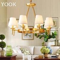 YOOK светодио дный люстра круглый Медь Люстра для Гостиная Обеденная Спальня ретро люстра высокого класса E14 110 V 220 V