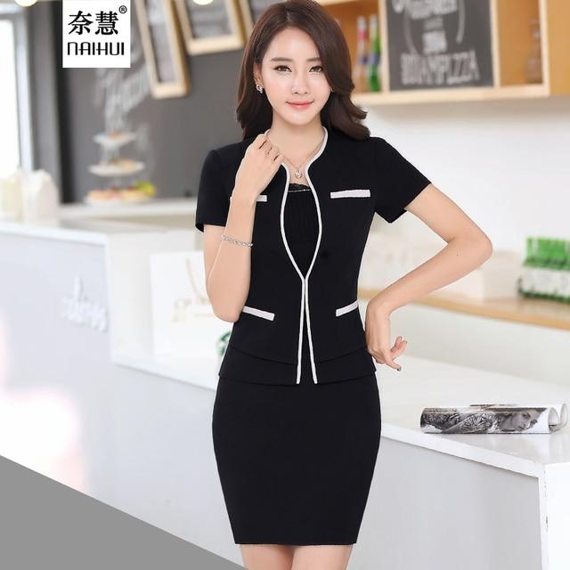 a705ee438c Las mujeres de manga corta estilo Uniforme de la Oficina de Negocios Juegos  de falda Formal