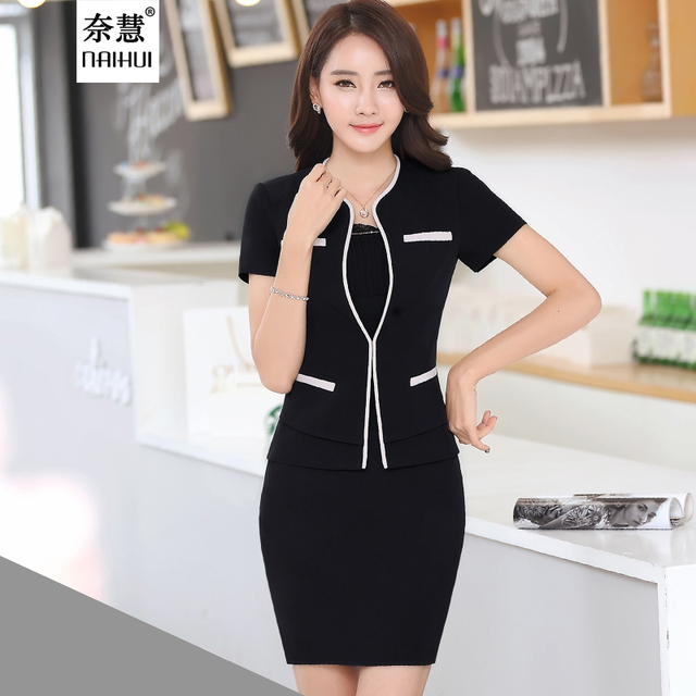Women Short Sleeve Business Skirt Suits Formal Office Uniform Style