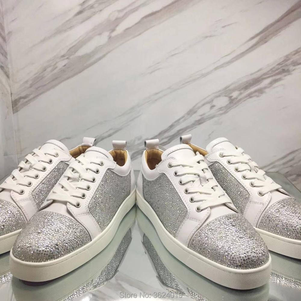 dfc9eb589825 clandgz Men shoes White Blingbling diamond Lace-up High quality Fashion  Party Red bottom Sneakers Leather Loafers 2018 Male