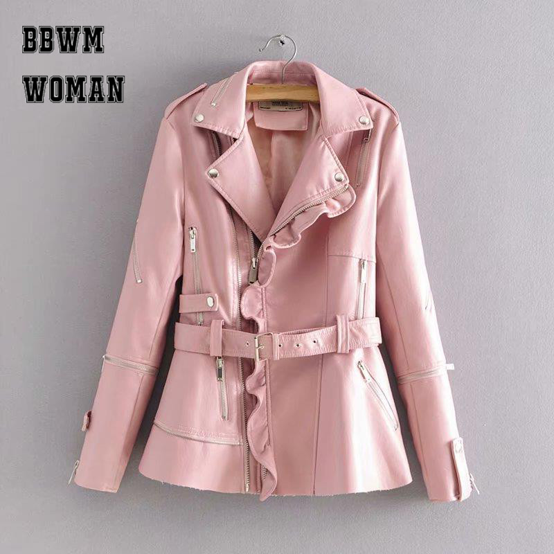 Sweet Ruffle Design Autumn Women Coat Fashion Pink Black Burgundy Color Zipper Rivet Pu Jacket Belt