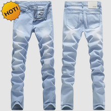 High Quanlity 2016 Light Blue Men Washing Stretch leg Pencil pants teenagers Boys Hip Hop Bleaching Denim Jeans Slim Fit Bottoms