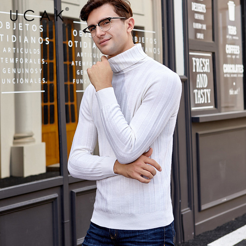 UCAK Brand Sweater Men 2019 New Arrival Winter Merino Wool Sweaters Cashmere Pullover Men Thick Warm Turtleneck Pull Homme U3021