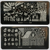 12 Designs Lot Cooi Brand Stamping Nail Art Plates Christmas Decoration DIY Nail Art Image Stamper