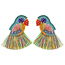 ZWPON Colorful Fringe Tassel Crystal Pave Cayman Parrot Polly Earrings for Women Animal Jewelry Wholesale