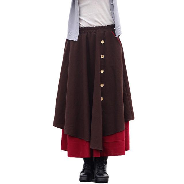 2016 Otoño Invierno Mujeres de La Falda de Cintura Alta Faldas Plisadas Plus Size Casual Tobillo-longitud de La Falda de Algodón Falda de Lino de La Vendimia SS802