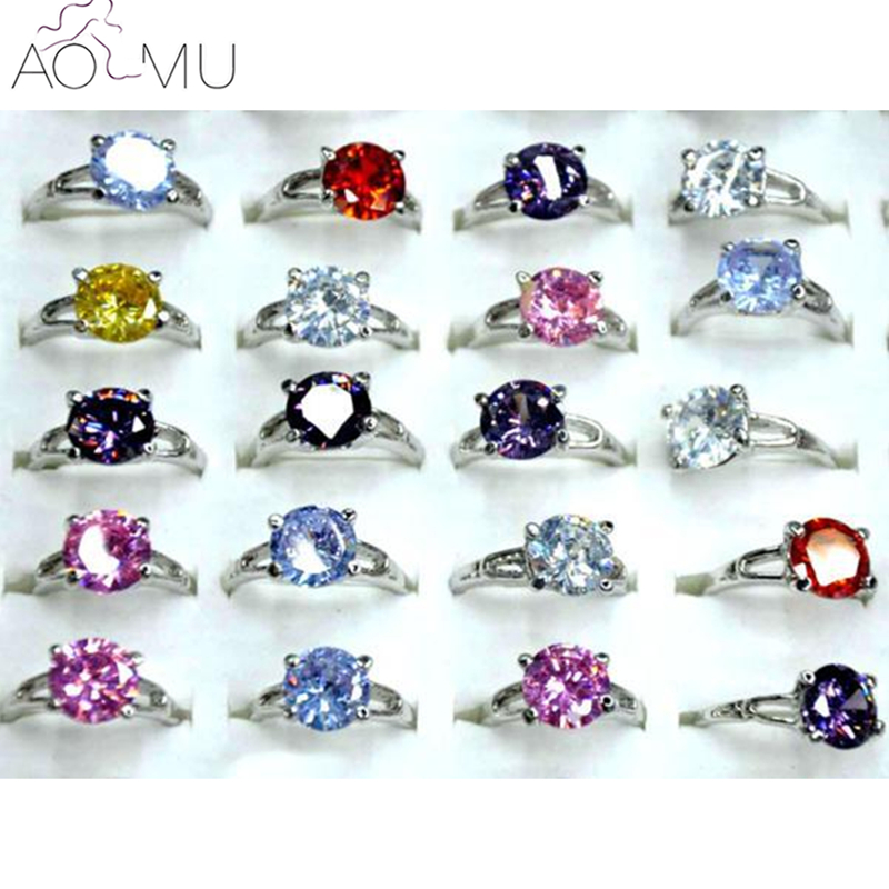 AOMU 10Pcs Multi-color Cubic Zircon Crystal Wedding Engagement Rings for Women Fashion Party Jewelry Bulks Mix Lots