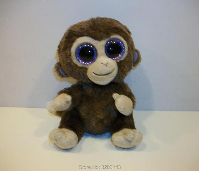 Ty Beanie Boos 6 Coconut Brown Monkey Big Glitter Eyes 15cm Plush