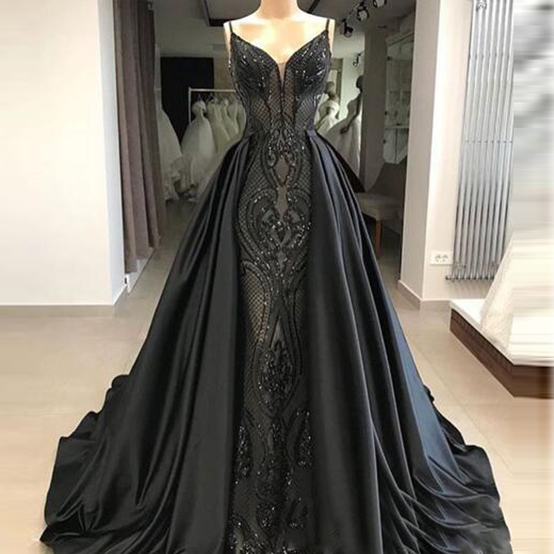 Elegant Black Sequined Evening Dresses With Detachable Train Spaghetti Beading Prom Dress Floor Length Saudi Arabic Long Formal Party Gowns219